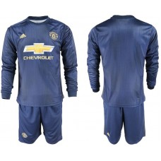 Men 2018-2019 club Manchester united away long sleeve blue soccer jersey