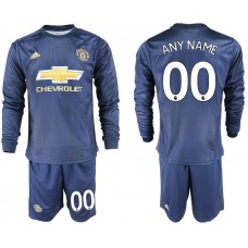 Men 2018-2019 club Manchester united away long sleeve customized blue soccer jersey