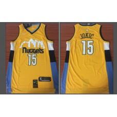 Men Denver Nuggets 15 Jokic Yellow Game Nike NBA Jerseys