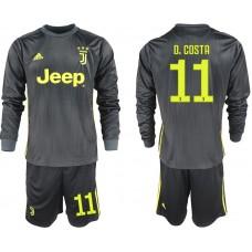 Men 2018-2019 club Juventus away long sleeves 11 black soccer jerseys