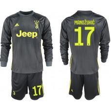 Men 2018-2019 club Juventus away long sleeves 17 black soccer jerseys