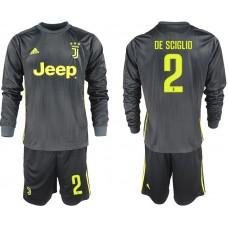 Men 2018-2019 club Juventus away long sleeves 2 black soccer jerseys