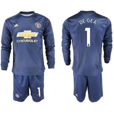 Men 2018-2019 club Manchester united away long sleeve 1 blue soccer jersey