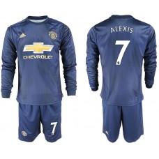 Men 2018-2019 club Manchester united away long sleeve 7 blue soccer jersey