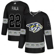 Men Nashville Predators 22 Fiala Black Adidas Fashion NHL Jersey