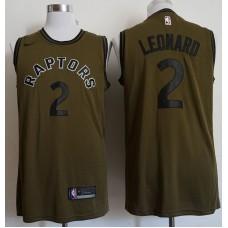Men Toronto Raptors 2 Leonard Military green Game Nike NBA Jerseys