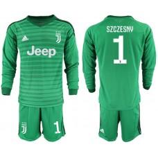 Men 2018-2019 club Juventus Goalkeeper Long sleeve 1 green soccer jerseys