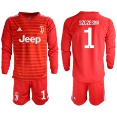 Men 2018-2019 club Juventus Goalkeeper Long sleeve 1 red soccer jerseys