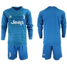 Men 2018-2019 club Juventus Goalkeeper Long sleeve blank blue soccer jerseys