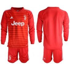 Men 2018-2019 club Juventus Goalkeeper Long sleeve blank red soccer jerseys