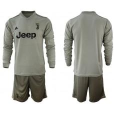 Men 2018-2019 club Juventus away Long sleeve blank grey soccer jerseys