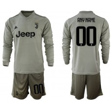 Men 2018-2019 club Juventus away Long sleeve customized grey soccer jerseys
