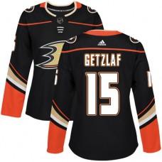 Adidas Anaheim Ducks 15 Ryan Getzlaf Black Home Authentic Womens Stitched NHL Jersey
