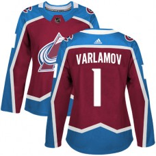 Adidas Colorado Avalanche 1 Semyon Varlamov Burgundy Home Authentic Women Stitched NHL Jersey