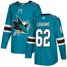 Adidas Men San Jose Sharks 62 Kevin Labanc Teal Home Authentic Stitched NHL Jersey