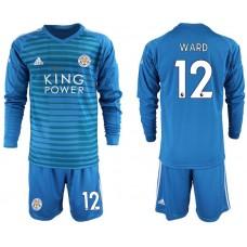 Men 2018-2019 club Leicester City blue goalkeeper Long sleeve 12 Soccer Jerseys