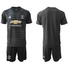 Men 2018-2019 club Manchester United black goalkeeper Soccer Jerseys