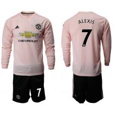 Men 2018-2019 club Manchester united away long sleeve 7 pink Soccer Jerseys