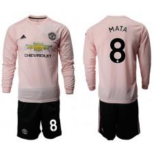 Men 2018-2019 club Manchester united away long sleeve 8 pink Soccer Jerseys