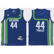 Men Atlanta Hawks 44 Pistol Light Blue Swingman Stitched NBA Jersey