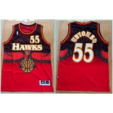 Men Atlanta Hawks 55 Dikembe Mutombo Red Throwback Stitched NBA Jersey