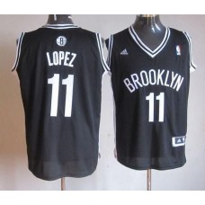 Men Brooklyn Nets 11 Brook Lopez Black Road Stitched NBA Jersey