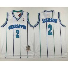 Men Charlotte Hornets 2 Larry Johnson White Throwback Stitched NBA Jersey