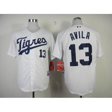 Men Detroit Tigers 13 Avila White Cool Base MLB Jerseys