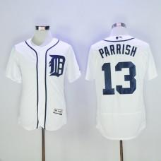 Men Detroit Tigers 13 Parrish White Throwback MLB Jerseys