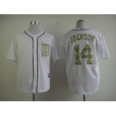Men Detroit Tigers 14 Jackson White Camo MLB Jerseys