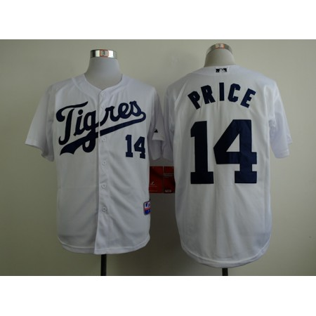 Men Detroit Tigers 14 Price White MLB Jerseys