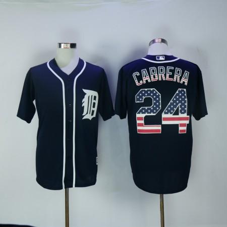 Men Detroit Tigers 24 Cabrera Blue National flag MLB Jerseys