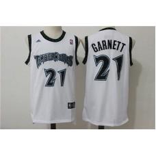 Men Minnesota Timberwolves 21 Garnett White Adidas NBA Jerseys