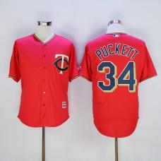 Men Minnesota Twins 34 Puckett Red MLB Jerseys