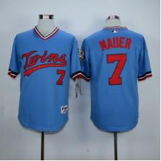 Men Minnesota Twins 7 Mauer Blue Throwback MLB Jerseys