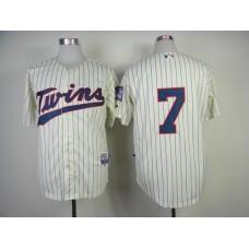 Men Minnesota Twins 7 Mauer Cream MLB Jerseys