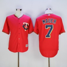 Men Minnesota Twins 7 Mauer Red MLB Jerseys