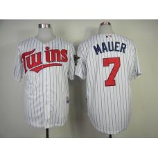 Men Minnesota Twins 7 Mauer White Stripe MLB Jerseys