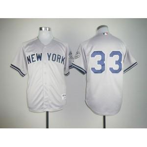 Men New York Yankees 33 No name Grey Throwback MLB Jerseys