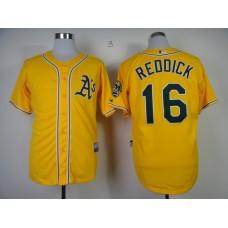 Men Oakland Athletics 16 Reddick Yellow MLB Jerseys