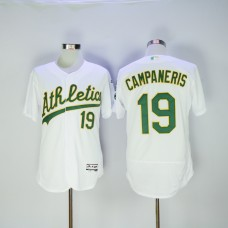 Men Oakland Athletics 19 Campaneris White MLB Jerseys