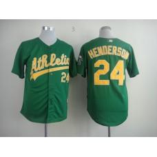 Men Oakland Athletics 24 Henderson Green MLB Jerseys
