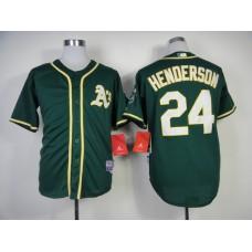 Men Oakland Athletics 24 Henderson Green MLB Jerseys1