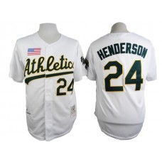 Men Oakland Athletics 24 Henderson White Throwback 1990 MLB Jerseys