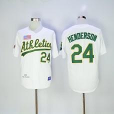Men Oakland Athletics 24 Henderson White Throwback MLB Jerseys