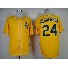 Men Oakland Athletics 24 Henderson Yellow MLB Jerseys