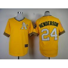 Men Oakland Athletics 24 Henderson Yellow Throwback MLB Jerseys