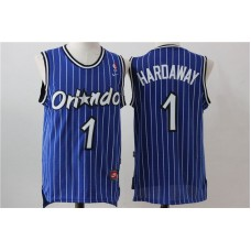 Men Orlando Magic 1 Hardaway Blue Stripe Throwback NBA Jersey