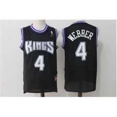 Men Sacramento Kings 4 Webber Black Throwback NBA Jerseys