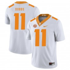 Men Tennessee Volunteers 11 Dobbs White Customized NCAA Jerseys